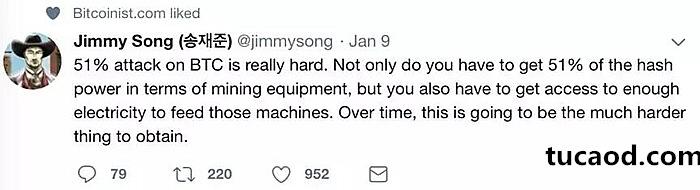 比特币核心开发者Jimmy Song:要对比特币发动51%攻击非常困难