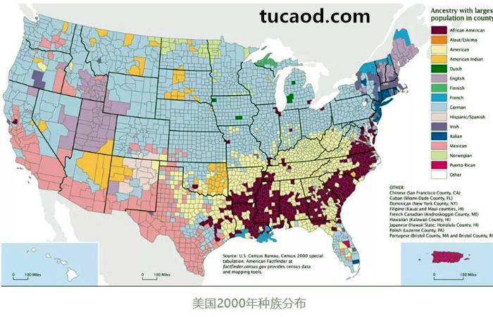 美国2000年种族分布