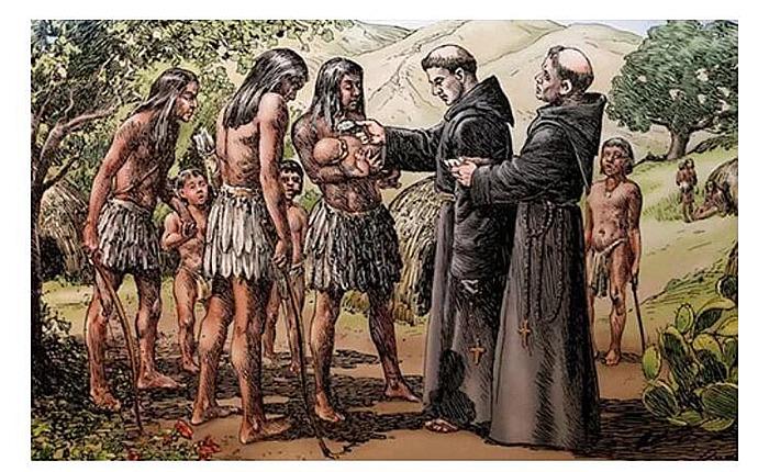 西班牙传教士给印第安人洗礼仪式