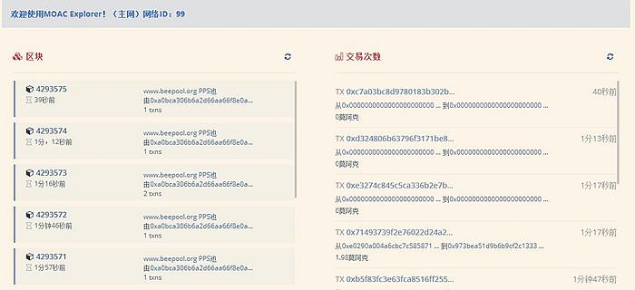 MOAC区块链浏览器截图
