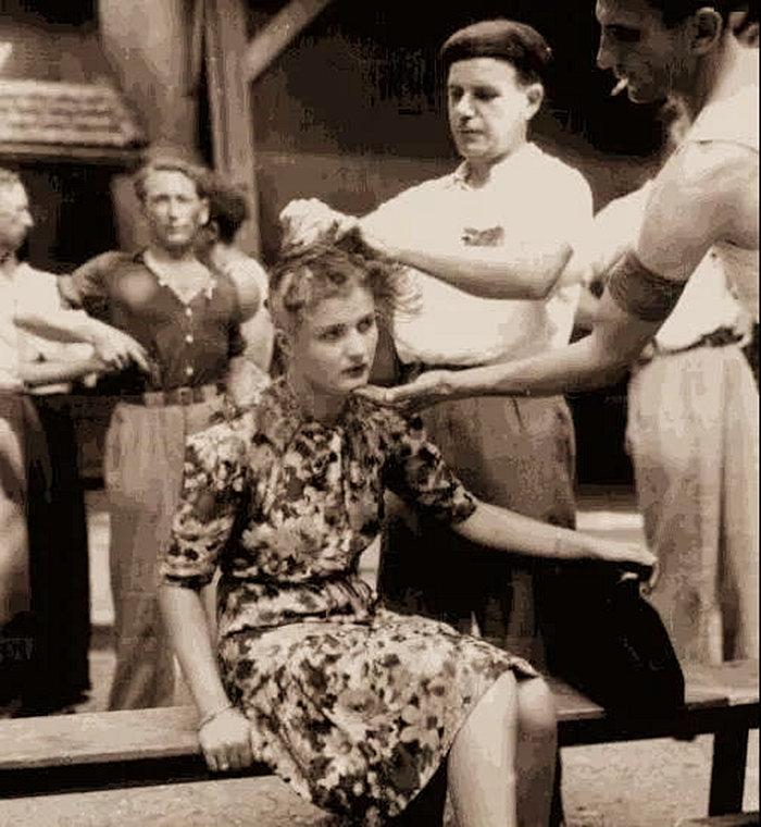 在二战刚结束的那段时间里,新解放国家的女性通敌者会被公开剃光头