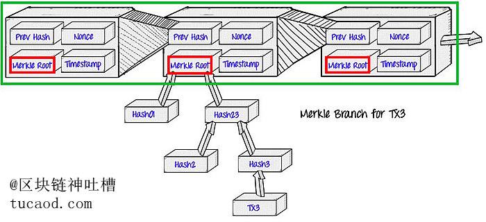 SPV节点只存储区块头(绿框),区块头中包含Merkle树根(红框)